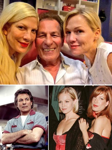 """Tori Spelling tweeted a selfie with former """"Beverly Hills, 90210"""" co-star Jennie Garth and actor Joe E. Tata, who played the Peach Pit owner Nat, while the trio were on the set of the ABC Family series """"Mystery Girls"""" in June. (@Tori_Spelling/Twitter, Reuters files and Fox photos)"""