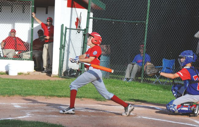 Brockville Major Braves' Gavin White takes a swing during district playoffs against Kemptville last week at Brackinreid Park. The Braves won the best-of-five series 3-0 to qualify for provincials in Windsor, to which they are headed this weekend. (STEVE PETTIBONE/The Recorder and Times)