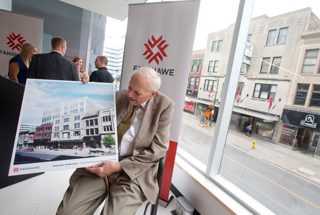 Fred Kingsmill looks at Fanshawe College's plan for his family's namesake store when its sale was announced last month. (Free Press file photo)