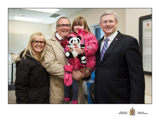 Conservative Party President John Walsh (second from left), with his daughter Georgia, his wife Jillian and Prime Minister Stephen Harper. (Photo from Facebook)