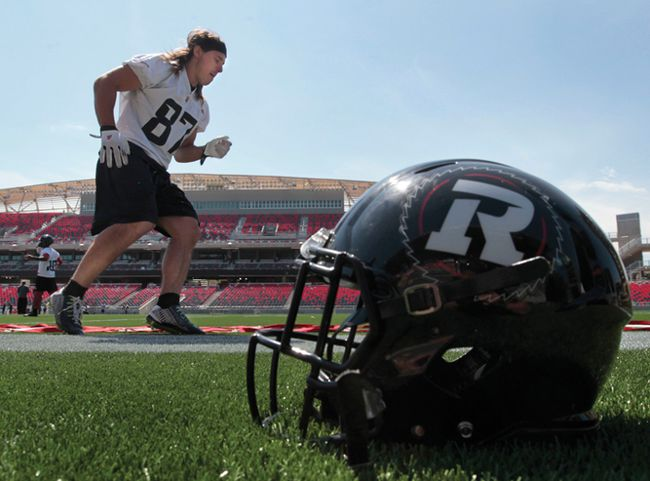 RedBlacks' Robin Medeiros practices earlier this week. The Redblacks have their home opener in Ottawa on Friday night. (TONY CALDWELL/QMI AGENCY)