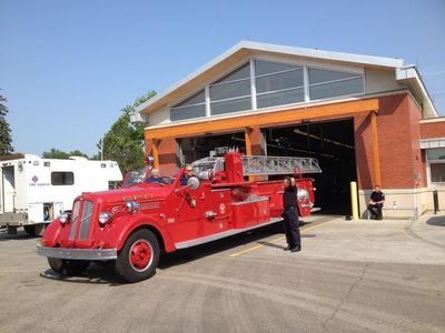 A 1947 GMC Edmonton Fire Deptartment fire truck leaves Fire Station #5 to enter the 2014 K-Days Parade. K-Days runs from July 18 to 27, 2014. Perry Mah/Edmonton Sun/QMI Agency