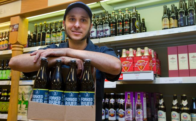 Steven Nazarian displays Forked River's riptide rye pale ale, now available at London-area LCBO locations. Mike Hensen/The London Free Press/QMI Agency