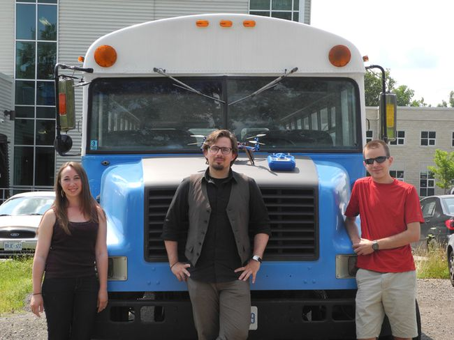 The Maker Bus team, from left to right: Beth Compton, Ryan Hunt and James Graham. (MEGAN STACEY, The London Free Press)