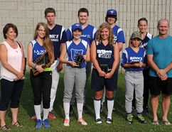 This year's Doug Scott Jr. Memorial Award winners are pictured with Scott's parents, Doug Sr. and Marla, at Monday's ceremony. Back row, left to right are Preston Leeder, Nick Major, Silas Hazlitt and Chelsea Burbridge. Front row, left to right, are Marla Scott, Tessa Barton (award winner), Darby Mallory, Hillary MacDonald, Landon Barlow and Doug Scott Sr. (STEVE PETTIBONE/The Recorder and Times)