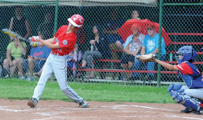 Brockville Major Braves' Tyson Crooke takes a swing during a district playoff game versus Kemptville earlier this month. Crooke and the Braves lost a close 5-4 decision Tuesday in their third game of the Little League provincial championships in Windsor. (STEVE PETTIBONE/The Recorder and Times)