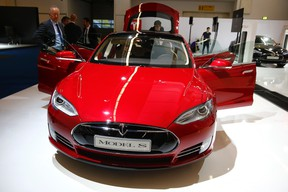 A Tesla Model S electric car. (REUTERS/Kai Pfaffenbach/Files)