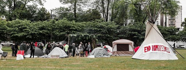 A tent city has been set up in Oppenheimer Park. (SUBMITTED)