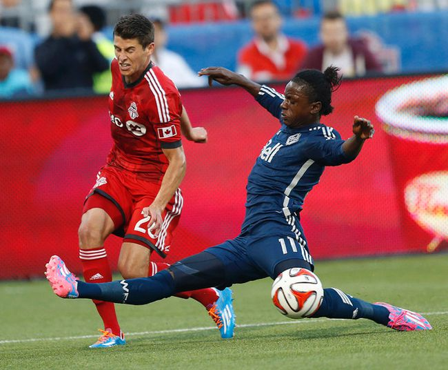 Darren Mattocks (right) has scored both goals in the Vancouver Whitecaps' last two games. They'll need more from their offence as they head into the final 15 games. QMI AGENCY FILE PHOTO
