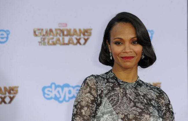 Zoe Saldana at the premiere of Guardians of the Galaxy in Los Angeles. (Apega/