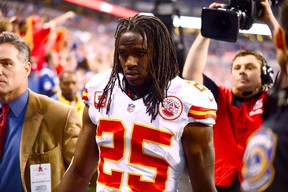 Kansas City Chiefs running back Jamaal Charles (25) exits the game after an injury during the first quarter of the 2013 AFC wild card playoff football game against the Indianapolis Colts at Lucas Oil Stadium. (Andrew Weber-USA TODAY Sports)