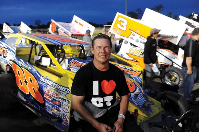 Chris Herbison has been racing at the BOS for 20 years, most recently in the Modified division. (STEVE PETTIBONE/The Recorder and Times)
