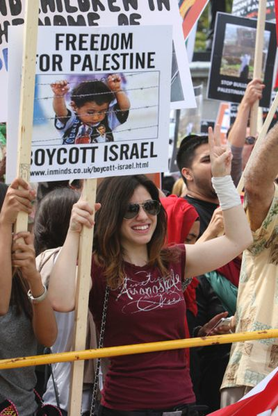 Thousands of Pro-Palestinian protesters and Isreali supporters clashed at Queen's Park during the International Al-Quds Day rally in Toronto  on Saturday, July 26, 2014. A heavy police presence kept the two sides separated. Veronica Henri/Toronto Sun/QMI Agency