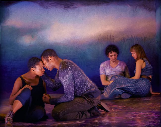 From left: Sarah Afful, Dion Johnstone, Mike Nadajewski and Trish Lindström in A Midsummer Night's Dream: A Chamber Play. (Photo by Michael Cooper; Digital artist: Krista Dodson)