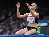 Canada's Brianne Theisen-Eaton reacts while competing in the Women's Heptathlon High Jump at the 2014 Commonwealth Games in Glasgow, Scotland July 29, 2014. (REUTERS/Suzanne Plunkett)