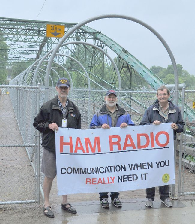 London Amateur Radio Club members (left-right) Mike Watts, Jim Morris and Tom Pillon gather at the Blackfriars Bridge in London as part of Historical Bridges On The Air event.