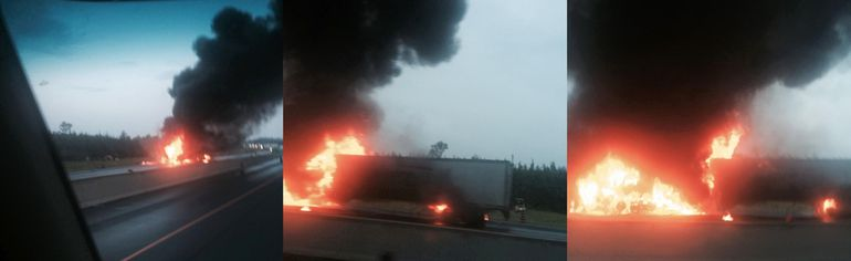 These three photographs were taken by 20-year truck driver Duncan Durr of Ottawa, Ont. when he drove by the scene of an early morning single tractor-trailer crash and fire in the eastbound lane on Highway 401 in the area of Mitchell Road, east of Highway 37 in Belleville, Ont., near Shannonville, Ont. Wednesday, July 30, 2014. - PHOTOS SUBMITTED BY DUNCAN DURR
