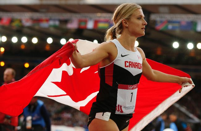 Brianne Theisen-Eaton of Canada reacts after winning gold in the heptathlon at the 2014 Commonwealth Games in Glasgow, Scotland, July 30, 2014. (REUTERS/Phil Noble)