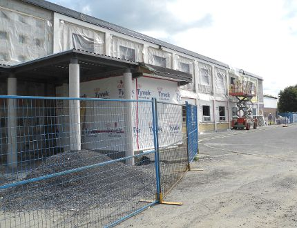<p>Work continues on constructing a new front entrance and new exterior for St. Peter School in Cornwall as part of many school Kindergarten enhancement projects in the area, on Wednesday.</p><p>GREG PEERENBOOM/CORNWALL STANDARD-FREEHOLDER/QMI AGENCY