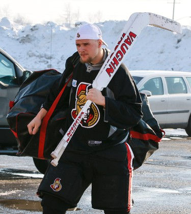 Ottawa Senators' goaltender Robin Lehner makes his way into the Sensplex for team practice on Wednesday February 19,2014. Errol McGihon/Ottawa Sun/QMI Agency
