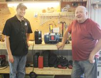 Todd and Ron McCann stand in the shop of McCann Enterprises located at 199 Anglesea St. Todd revived the long-time family business in April. His father Ron owned it from 1990 to 2007. (Dave Flaherty/Goderich Signal Star)