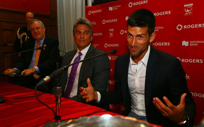 Novak Djokovic at the Rogers Cup draw on Aug. 1. (Dave Abel, Toronto Sun)