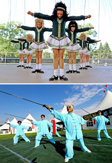 39th year for the Heritage Festival.  Top; Welsh Dancers perform as well as members of the Taiwan Pavilion practice during the Heritage Festival news conference at Hawrelak Park in Edmonton, Alberta on July 30, 2014. The Heritage Festival  runs in Hawrelak Park from August 2 to 4th. Perry Mah/Edmonton Sun/QMI Agency