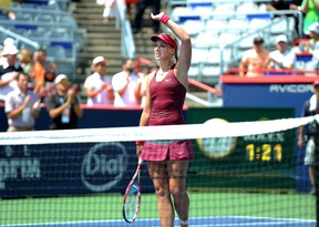 Sabrine Lisicki (GER) reacts as she won against Sara Errani (ITA) on day one of the Rogers Cup tennis tournament at Uniprix Stadium. (QMI AGENCY)