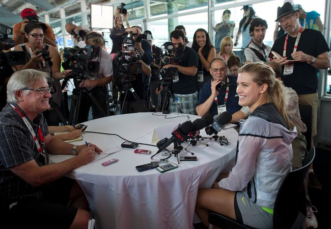 Eugenie Bouchard during a press conference at the WTA Tournament Rogers Cup at Uniprix Stadium in Montreal August 3, 2014. (QMI Agency)