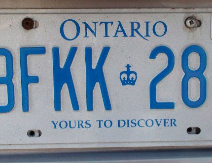 An Ontario licence plate. (QMI Agency file photo)
