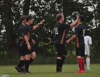 Members Portage United celebrate a goal from Braden Nicoll during Portage's 3-2 win over Winnipeg FC Aug.10. (Kevin Hirschfield/The Graphic)
