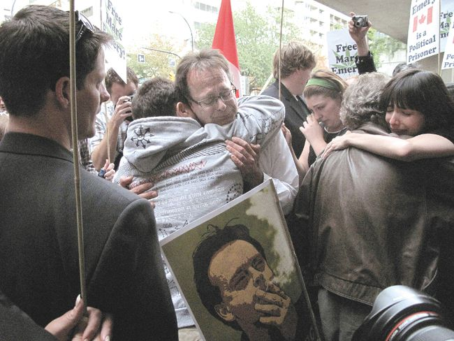 """Prince of Pot"" Marc Emery tearfully embraces supporters outside of Supreme Court in Vancouver.