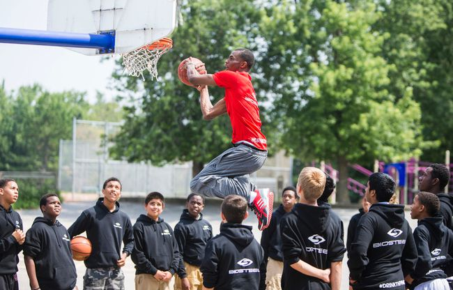 The NBA's No. 1 draft pick, Andrew Wiggins, goes up for a dunk on Monday at Glen Shields Public School in Vaughan, Ont. Wiggins, a Canadian who attended the school, was there to shoot a commercial. (Ernest Doroszuk/Toronto Sun)