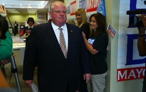 Mayor Rob Ford speaks to media at his campaign office Tuesday, August 12, 2014. (Dave Abel/Toronto Sun)