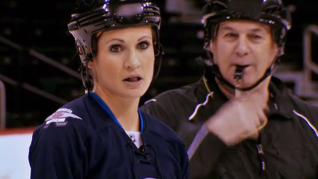 Meaghan Mikkelson looks on in disbelief as team after team jumps ahead of her and Natalie Spooner during the hockey challenge. (CTV screen shot)