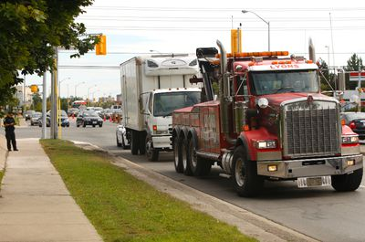 A cyclist, 69, was killed Friday morning when he collided with a truck at a Mississauga intersection. Peel Regional Police are investigating the fatality. (CHRIS DOUCETTE/Toronto Sun)