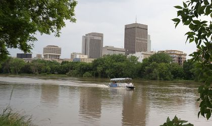 A Splash Dash tour bus travels the Red River on Fri., June 27, 2014.