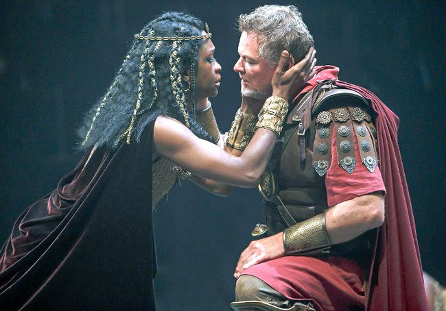 Yanna McIntosh, as Cleopatra, and Geraint Wyn Davies, as Mark Antony, star in Antony and Cleopatra. (DAVID HOU/Stratford Festival)