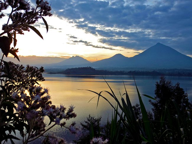 The sun sets over Lake Burera near Volcanoes National Park in Rwanda, one of the few places on earth where people can see mountain gorillas in their natural habitat. Pamela Roth/QMI Agency