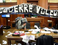In a protest against proposed changes to pensions, angry fire fighters broke into City Hall Monday night and vandalized several rooms, including the council chambers. (MAXIME DELAND / QMI AGENCY)