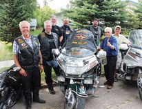 (L to R) Ray Moffatt, Kevin Moffatt, Hugh Stearn, Pat Davis and Cal Goodman of the Widows Sons and Bill Bott and Bob Harley were among those in attendance as the Widows Sons rolled through Melfort on Saturday, August 16,.
