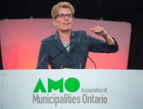 Ontario Premier Kathleen Wynne addresses delegates at the annual general meeting of the Association of Municipalities Ontario in London, Ont., on August 19, 2014. (DEREK RUTTAN/QMI Agency)