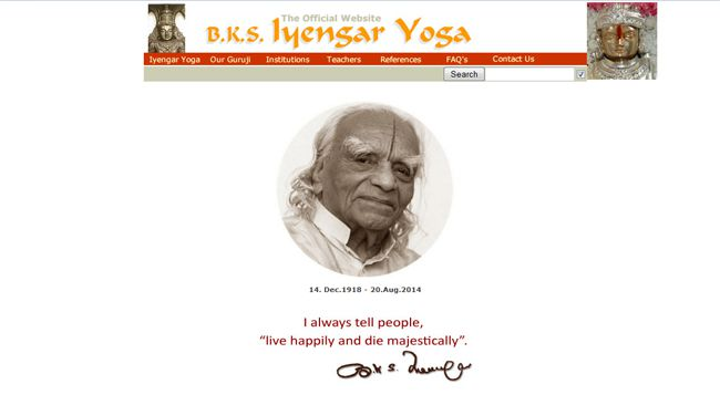 A screengrab of yoga guru BKS Iyengar's website. (http://bksiyengar.com photo)