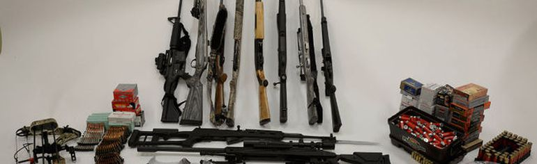 A 29-year-old Fort McMurray man was arrested and 13 firearms were seized by Alberta Law Enforcement Response Teams (ALERT) in connection to a British Columbia-based weapons trafficker. Photo Supplied/ALERT
