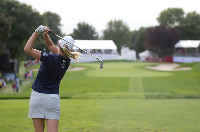 Jennifer Kirby of Paris, Ontario tees off on the seventeenth hole during Round 1 of the 2014 Canadian Pacific Canadian Women's Open at the London Hunt and Country Club in London, Ontario on Thursday August 21, 2014.