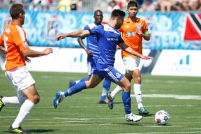 FC Edmonton, shown here in a home game against the Carolina Railhawks in June, were able to convert on a late penalty kick for the winn last weekend in Raleigh, Ca. (Ian Kucerak, Edmonton Sun)
