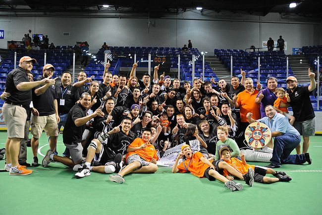 The Six Nations Arrows are Minto Cup champions for the third time in team history after defeating Coquitlam Saturday, taking the Canadian championship series in six games. (Photo courtesy of Ward Laforme Jr.)