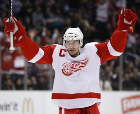 Detroit Red Wings' Nicklas Lidstrom celebrates after scoring against the Los Angeles Kings during the first period of their NHL game February 28, 2011. (REUTERS/Lucy Nicholson)
