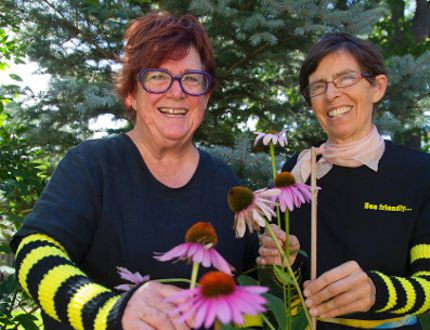 Roberta Cory and Margo Does are pro pollination in London (MIKE HENSEN, The London Free Press)