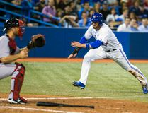 Toronto Blue Jays outfielder Kevin Pillar jumps toward home plate against the Boston Red Sox at the Rogers Centre in Toronto, Aug. 27, 2014. (ERNEST DOROSZUK/QMI Agency)